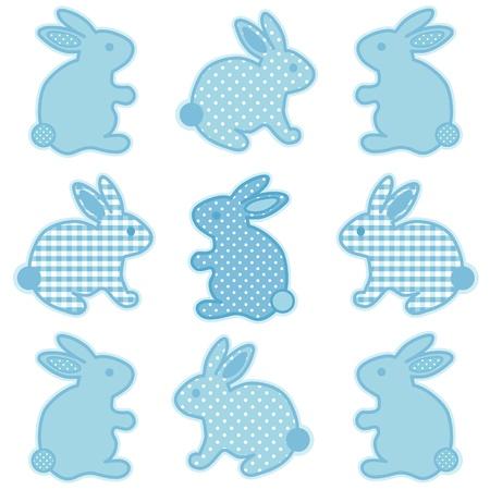 Baby Bunny Konijnen, Pastel Aqua Gingham en Polka Dots, voor baby boeken, plakboeken, albums, lente, Pasen. Stock Illustratie