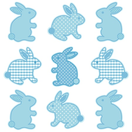 Baby Bunny Rabbits, Pastel Aqua Gingham and Polka Dots, for baby books, scrapbooks, albums, spring, Easter.  Vector