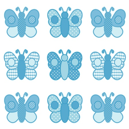 Baby Butterflies, Pastel Aqua Gingham and Polka Dots, for scrapbooks, albums, baby books. Vector