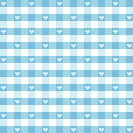 aquamarine: Seamless Gingham Pattern with Hearts, Pastel Aqua, for scrapbooks, albums, baby books, decorating.  Illustration
