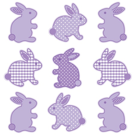 Baby Bunny Rabbits, Pastel Lavender Gingham and Polka Dots, for baby books, scrapbooks, albums, spring, Easter.  Vector