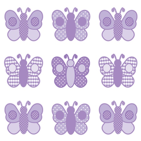 Baby Butterflies, Pastel Lavender Gingham and Polka Dots, for scrapbooks, albums, baby books. Vector