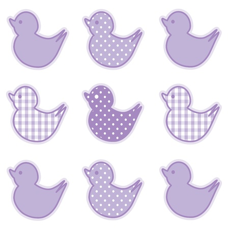 Baby Ducks, Pastel Lavender Gingham and Polka Dots, for baby books, scrapbooks, albums, spring, Easter. Vector