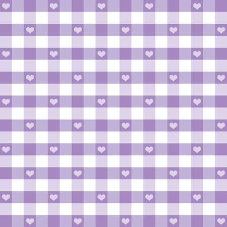 Seamless Gingham Pattern with Hearts, Pastel Lavender, for scrapbooks, albums, baby books, decorating.   Vector