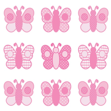 Baby Butterflies, Pastel Pink Gingham and Polka Dots, for scrapbooks, albums, baby books. Vector