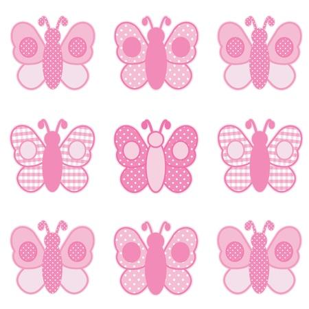 papillon rose: Papillons de bébé, rose pastel vichy et des pois, pour des albums, des albums, des livres pour bébés.