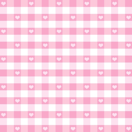 Seamless Gingham Pattern with Hearts, Pastel Pink, for scrapbooks, albums, baby books, decorating.  Illustration