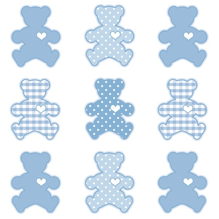 patchwork pattern: Teddy Bears with Big Hearts, Pastel Blue Gingham and Polka Dots, for scrapbooks, albums, baby books.
