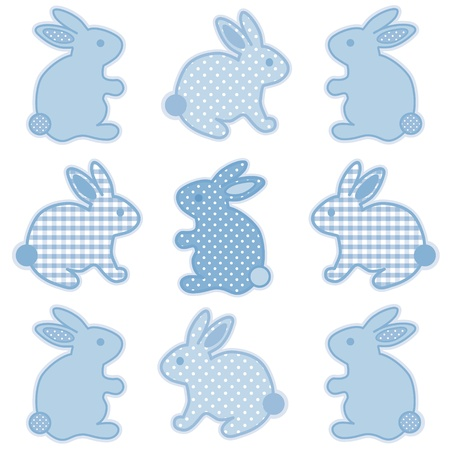 Baby Bunny Rabbits, Pastel Blue Gingham and Polka Dots, for baby books, scrapbooks, albums, spring, Easter.  Vector