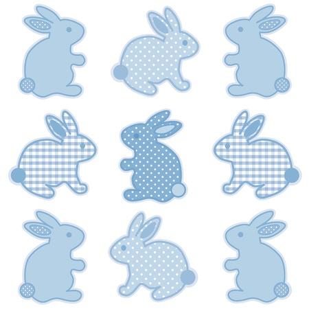 Baby-Bunny Rabbits, Pastel Blue Gingham und Tupfen, für Baby-Bücher, Sammelalben, Alben, Frühling, Ostern. Standard-Bild - 12136842