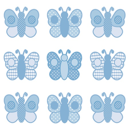 Baby Butterflies, Pastel Blue Gingham and Polka Dots, for scrapbooks, albums, baby books. Vector