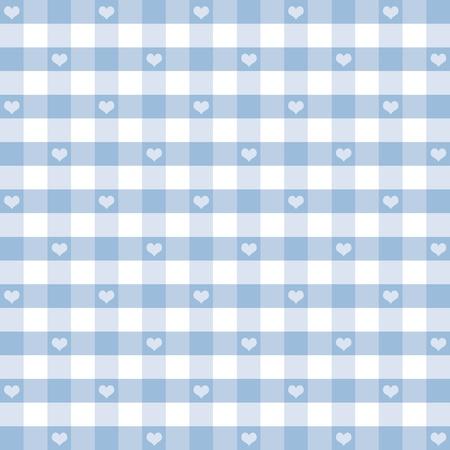 Naadloze Gingham Patroon met Hearts, pastel blauw, voor de plakboeken, albums, babyboeken, decoreren. Stock Illustratie