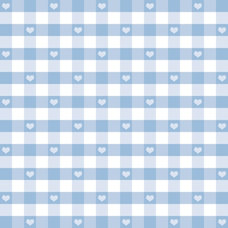 Seamless Gingham Pattern with Hearts, Pastel Blue, for scrapbooks, albums, baby books, decorating.  Vector
