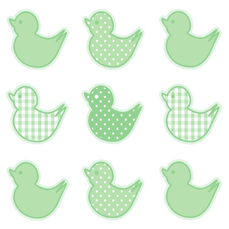 Baby Ducks, Pastel Green Gingham and Polka Dots, for baby books, scrapbooks, albums, spring, Easter. Vector