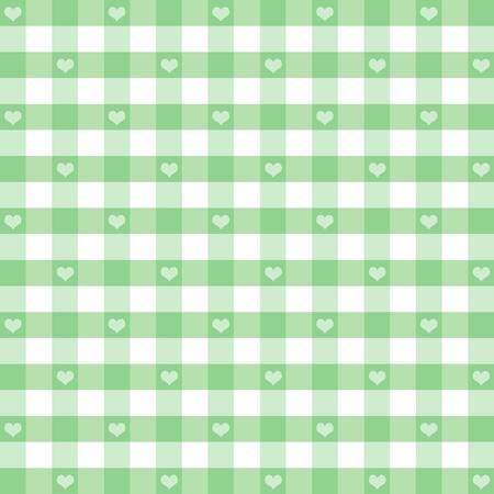 spachteln: Nahtlose Ginghammuster mit Herzen, lindgr�n, f�r Sammelalben, Alben, Baby-B�cher, Dekorieren. EPS enth�lt Muster-Farbfeld, das sich nahtlos f�llen wird eine beliebige Form.