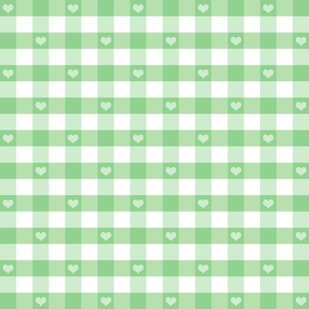 gingham: Seamless Gingham Pattern with Hearts, Pastel Green, for scrapbooks, albums, baby books, decorating. EPS includes pattern swatch that will seamlessly fill any shape.