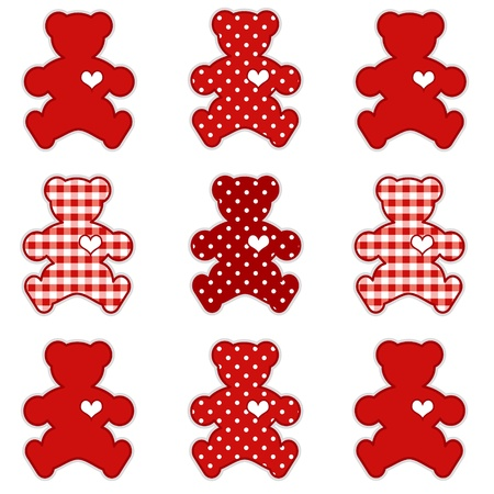 vintage teddy bears: Teddy Bears with Big Hearts, Valentine Red Gingham and Polka Dots, for scrapbooks, albums, baby books.