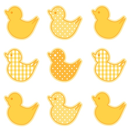 baby duck: Baby Ducks, Pastel Yellow Gingham and Polka Dots, for baby books, scrapbooks, albums, spring, Easter.