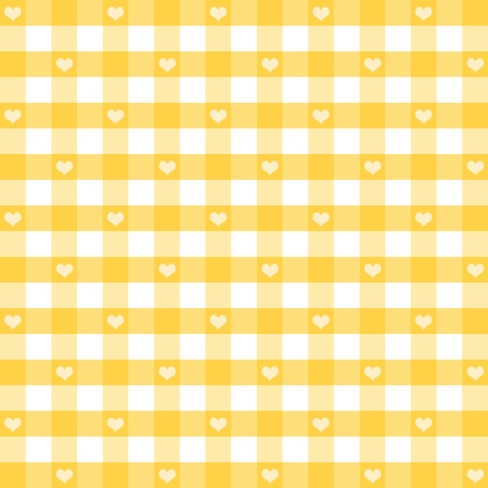 gingham: Seamless Gingham Pattern with Hearts, Pastel Yellow, for scrapbooks, albums, baby books, decorating. EPS includes pattern swatch that will seamlessly fill any shape.