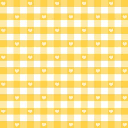 remplir: Seamless vichy avec des coeurs, jaune pastel, pour scrapbooks, albums, livres pour b�b�s, de la d�coration. Le BPA comprend nuance de motif qui de fa�on transparente remplir n'importe quelle forme. Illustration
