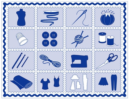 Sewing, Tailoring, Knit, Crochet Icons. Tools and supplies for sewing, tailoring, dressmaking, needlework, quilting, darning, textile arts, crafts, do it yourself projects, blue rickrack frame. Vector