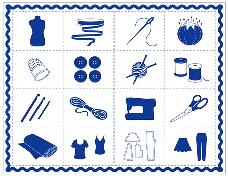 Sewing, Tailoring, Knit, Crochet Icons. Tools and supplies for sewing, tailoring, dressmaking, needlework, quilting, darning, textile arts, crafts, do it yourself projects, blue rickrack frame.