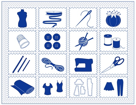 Sewing, Tailoring, Knit, Crochet Icons. Tools and supplies for sewing, tailoring, dressmaking, needlework, quilting, darning, textile arts, crafts, do it yourself projects, blue stitched frame.