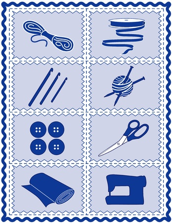 stitchery: Sewing, Knit, Crochet, Craft Icons, Tools and supplies for sewing, tailoring, dressmaking, quilting, textile arts, crafts, do it yourself projects, blue rickrack frame. Illustration