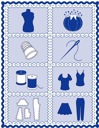 Sewing and Tailoring Icons. Tools and supplies for sewing, tailoring, dressmaking, needlework, quilting, darning, do it yourself projects, blue rickrack frame.