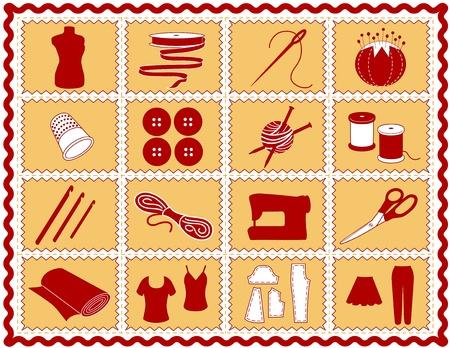 needlework: Cucire, Sartoria, maglia, uncinetto icone. Strumenti e forniture per il cucito, sartoria, sartoria, ricamo, quilting, rammendo, le arti tessili, artigianato, fai da te progetti, rickrack telaio rosso e oro.