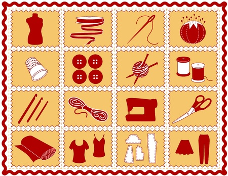 zelf doen: Naaien, Tailoring, breien, haken pictogrammen. Gereedschap en benodigdheden voor naaien, kleding, kleding maken, handwerken, quilten, stoppen, textiele kunst, ambacht, doe het zelf projecten, rood en goud zigzagband frame.