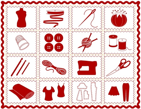 needlework: Sewing, Tailoring, Knit, Crochet Icons. Tools and supplies for sewing, tailoring, dressmaking, needlework, quilting, darning, textile arts, crafts, do it yourself projects, red rickrack frame. Illustration