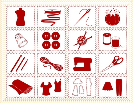 Sewing, Tailoring, Knit, Crochet Icons. Tools and supplies for sewing, tailoring, dressmaking, needlework, quilting, darning, textile arts, crafts, do it yourself projects, red stitched frame.