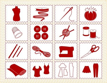 needlework: Cucire, Sartoria, maglia, uncinetto icone. Strumenti e forniture per il cucito, sartoria, sartoria, ricamo, quilting, rammendo, le arti tessili, artigianato, fai da te progetti, cornice rossa cucita. Vettoriali