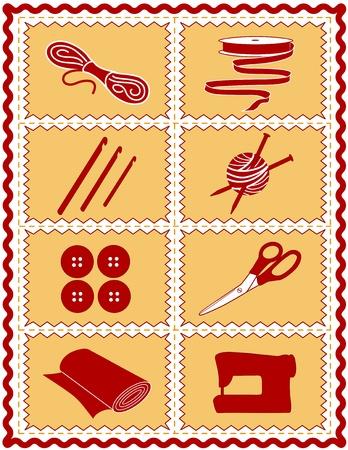knutsel spullen: Naaien, breien, haken, Craft Pictogrammen. Gereedschap en benodigdheden voor naaien, kleding, naaien, quilten, textiel kunst, kunstnijverheid, doe het zelf projecten, rood en goud zigzagband frame. Stock Illustratie