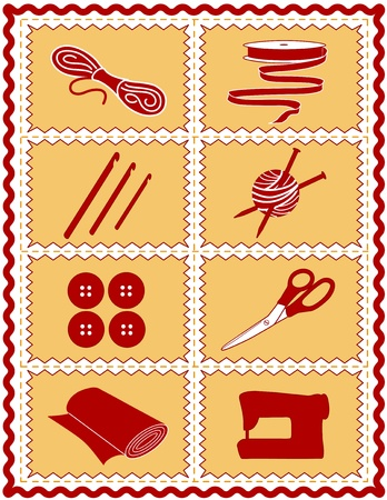 Sewing, Knit, Crochet, Craft Icons. Tools and supplies for sewing, tailoring, dressmaking, quilting, textile arts, crafts, do it yourself projects, red and gold rickrack frame. Vector