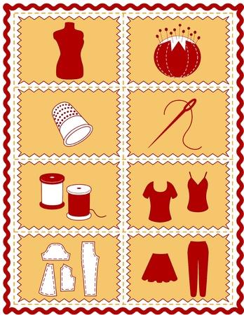 Nähen und Schneidern Icons. Werkzeuge und Zubehör zum Nähen, Schneidern, Nähen, Handarbeiten, Quilten, Stopfen, do it yourself-Projekte, Rot und Gold Zackenlitze Rahmen.