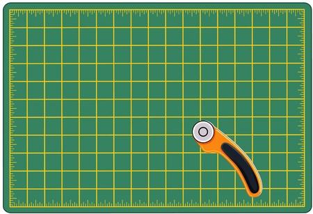 자기 치유는 프로젝트, 자신 않는 매트를 절단 및 회전 칼날은 예술, 공예, 바느질, 퀼트, 아플리케, 패치 워크에 대한 자료를 측정하고 절단, 절삭 공구 일러스트