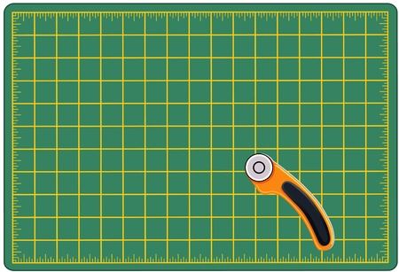 Self Healing Cutting Mat and Rotary Blade Cutting Tool, for measuring and cutting materials for arts, crafts, sewing, quilting, applique, patchwork, do it yourself projects.
