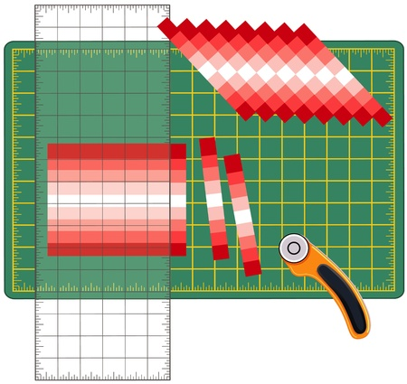 reorganize: Patchwork: How to Do it Yourself. Cut sewn cloth strips, reorganize into patterns and designs with transparent ruler, rotary blade cutter on cutting mat, for arts, crafts, sewing, quilting, applique, diy projects. Illustration