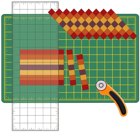 Patchwork: How to Do it Yourself. Cut sewn cloth strips, reorganize into patterns and designs with transparent ruler, rotary blade cutter on cutting mat, for arts, crafts, sewing, quilting, applique, diy projects. Vector