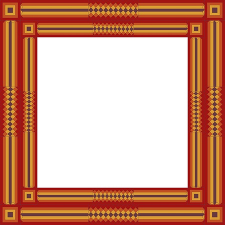 symmetrical design: Quilted Patchwork Square Frame in traditional pieced design. EPS includes single or double frame (separate layers).