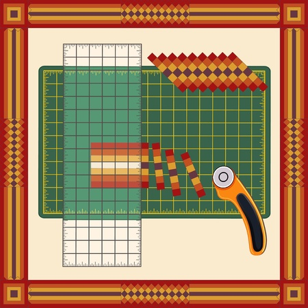 reorganize: Patchwork: How to Do it Yourself: Cut sewn cloth strips, reorganize into patterns with transparent ruler, rotary blade cutter on cutting mat, for sewing, quilting, diy projects. Square Frame in traditional patchwork design. Illustration