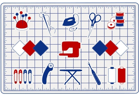 patchwork pattern: Quilting, Patchwork, Sewing Icons on Cutting Mat for do it yourself projects: pins, pincushion, needle, thread, iron, embroidery scissors, bobbins, cloth swatches, sewing machine, safety pins, rotary cutter, ironing board, seam ripper, bobbins.