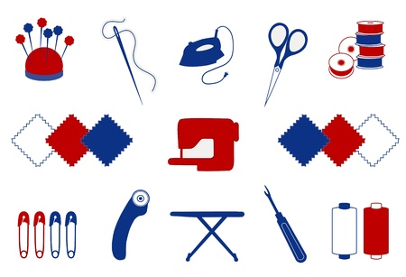 Quilting, Patchwork, Sewing Icons for do it yourself projects: flower head pins, pincushion, needle, thread, iron, embroidery scissors, bobbins, cloth swatches, sewing machine, safety pins, rotary cutter, ironing board, seam or thread ripper, bobbins.