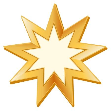 Bahai Symbool. Gouden ster met negen punten, symbool van de Baha'i-geloof, witte achtergrond.