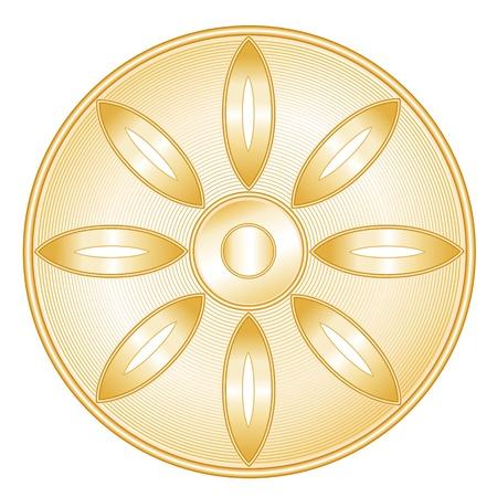 Buddhism Symbol. Golden icon of Buddhist faith, Lotus blossom, Wheel of Dharma, white background.  Illustration