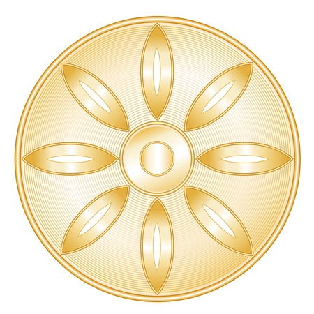 Buddhism Symbol. Golden icon of Buddhist faith, Lotus blossom, Wheel of Dharma, white background.  Vector