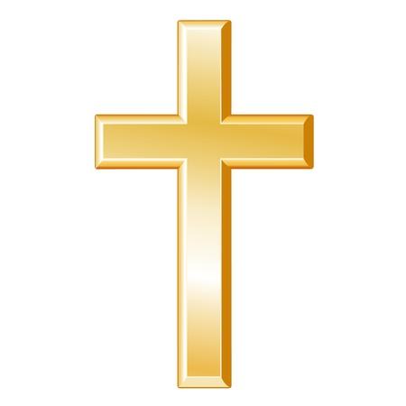 kruzifix: Christentum Symbol. Goldenes Kreuz, Kruzifix, Symbol des christlichen Glaubens, wei�en Hintergrund. Illustration