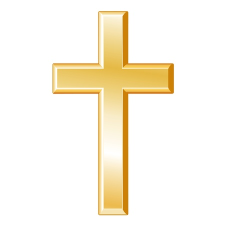 Christianity Symbol. Golden Cross, Crucifix, symbol of Christian faith, white background.  Vector